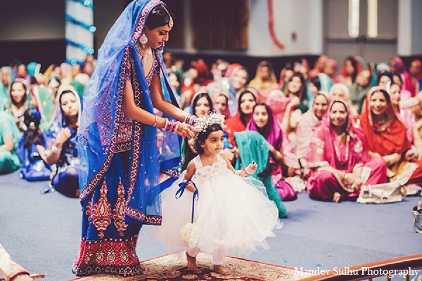Indian wedding sikh flower girl in Seattle, Washington Indian Wedding by Mandev Sidhu Photography