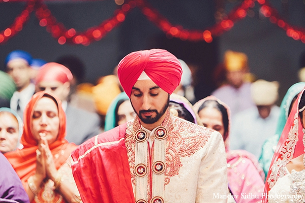Indian-wedding-sikh-groom-ceremony in Seattle, Washington Indian Wedding by Mandev Sidhu Photography