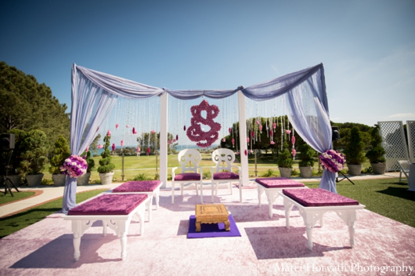 Indian wedding decor mandap in Dana Point, California Indian Wedding by Matei Horvath Photography