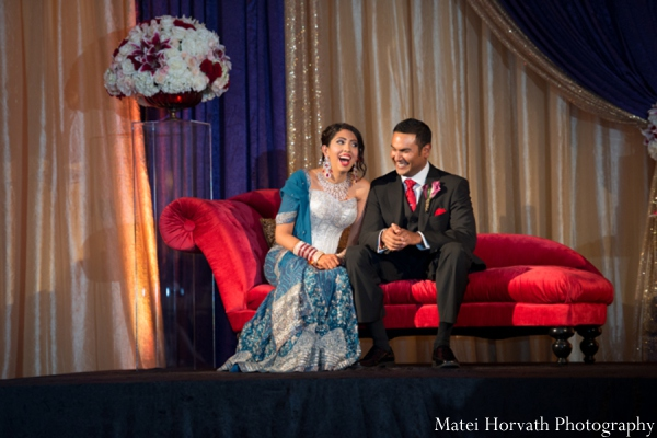 Indian wedding reception stage in Dana Point, California Indian Wedding by Matei Horvath Photography
