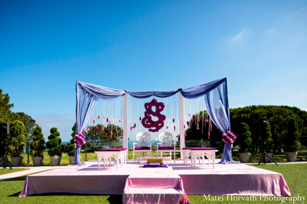 Traditional mandap decor in Dana Point, California Indian Wedding by Matei Horvath Photography