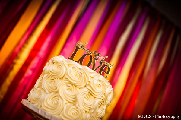 Indian wedding reception cake photography in San Jose, California Indian Wedding by MDC SF Photography