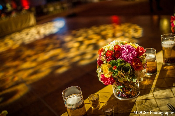 Indian wedding reception decor gold floral in San Jose, California Indian Wedding by MDC SF Photography