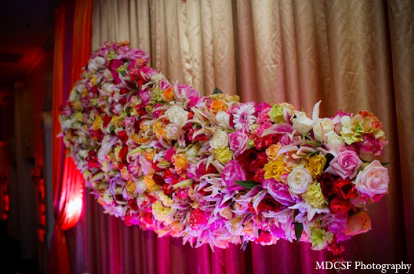 Indian wedding reception floral piece arrangement decor in San Jose, California Indian Wedding by MDC SF Photography