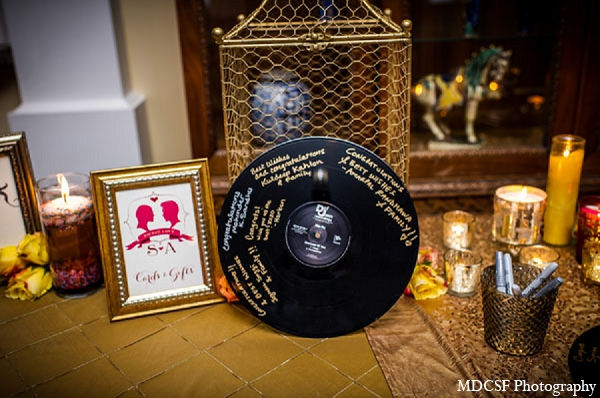 Indian wedding reception guest book decor table in San Jose, California Indian Wedding by MDC SF Photography