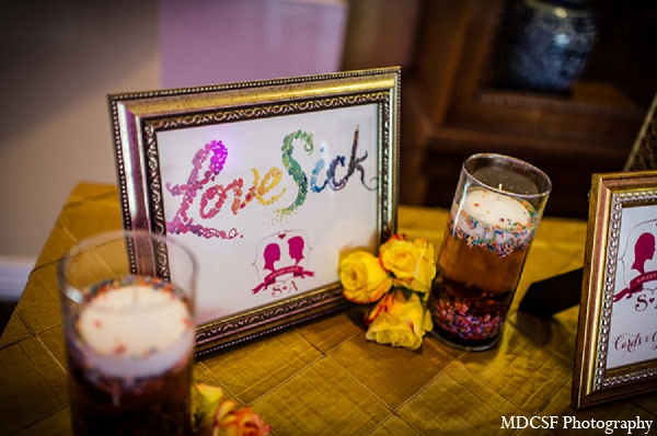 Indian wedding reception guest book table decor in San Jose, California Indian Wedding by MDC SF Photography