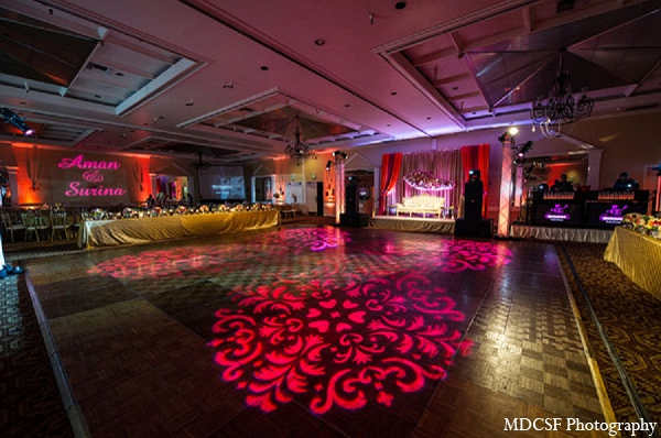 Indian wedding reception venue lighting decor in San Jose, California Indian Wedding by MDC SF Photography