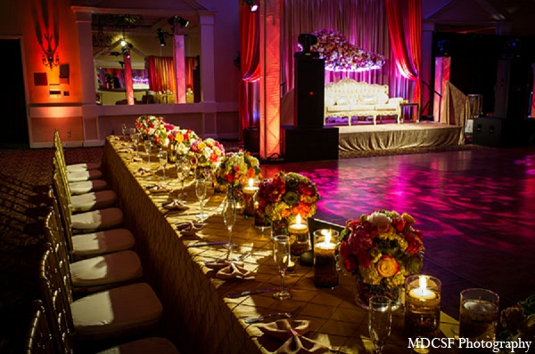 Indian wedding reception table decor venue in San Jose, California Indian Wedding by MDC SF Photography