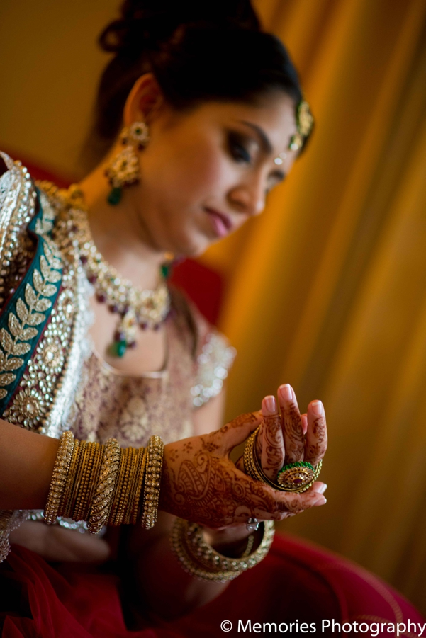 Indian wedding bridal jewelry portrait in Bridgewater, New Jersey Indian Wedding by Memories Photography