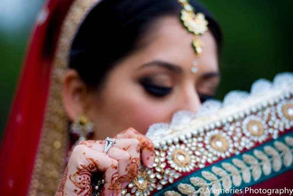 Indian wedding bridal portrait lengha detail in Bridgewater, New Jersey Indian Wedding by Memories Photography