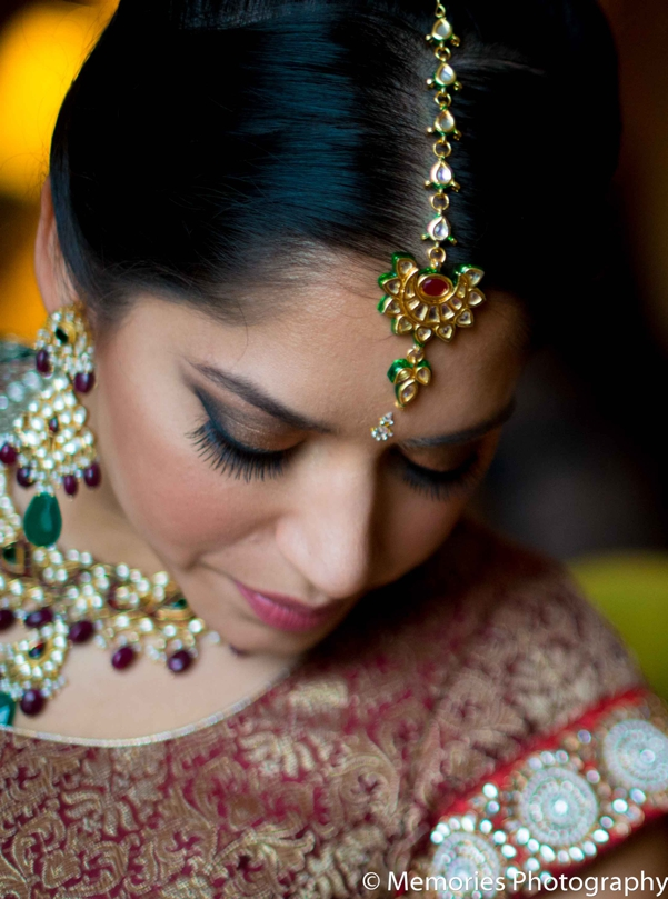 Indian wedding bridal portrait tikka in Bridgewater, New Jersey Indian Wedding by Memories Photography