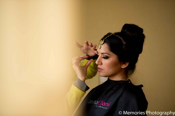 Indian wedding bride gets ready hair makeup in Bridgewater, New Jersey Indian Wedding by Memories Photography