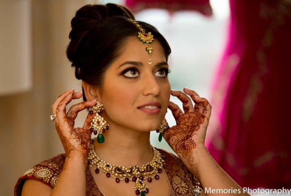 Indian wedding bride jewelry getting ready traditional in Bridgewater, New Jersey Indian Wedding by Memories Photography