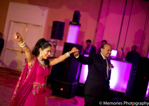 hot pink,Lighting,indian wedding reception,dancing at wedding reception,lighting at the reception,bride and groom at reception,Memories Photography