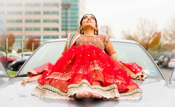 red,indian wedding bride,bridal lengha,ceremony lengha,traditional wedding lengha,Memories Photography