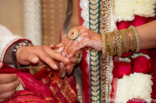 Indian wedding ceremony traditional ring exchange in Bridgewater, New Jersey Indian Wedding by Memories Photography