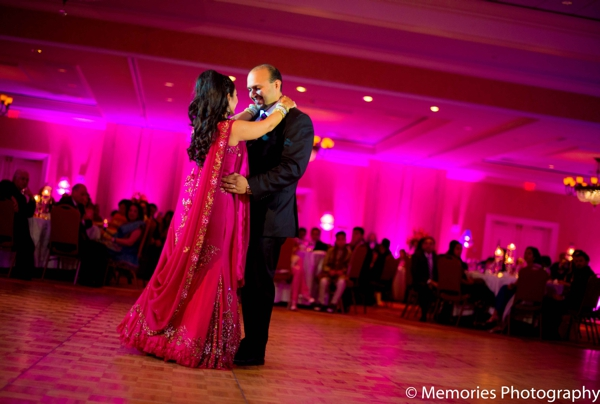 hot pink,Lighting,indian wedding reception,reception dance floor,bride and groom dancing,lighting at the reception venue,Memories Photography