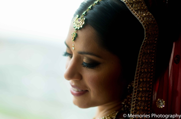 Indian wedding hair makeup portrait tikka in Bridgewater, New Jersey Indian Wedding by Memories Photography
