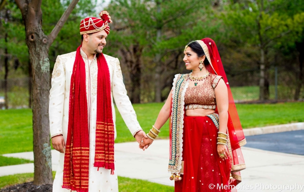 Indian wedding portrait bride groom lengha sherwani in Bridgewater, New Jersey Indian Wedding by Memories Photography