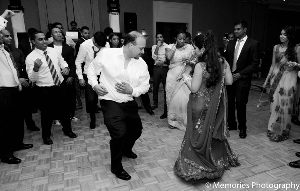 Indian-wedding reception dancing in Bridgewater, New Jersey Indian Wedding by Memories Photography