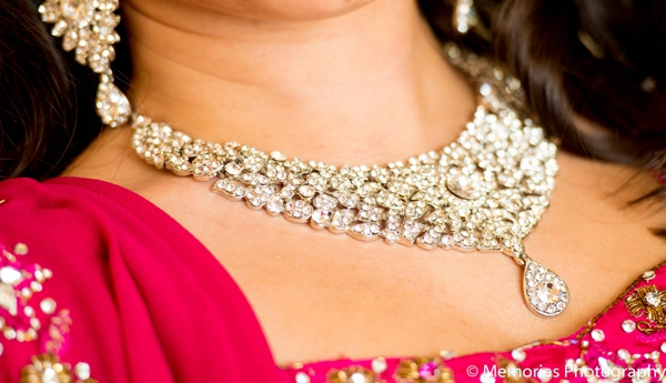 Indian wedding reception diamond jewelry in Bridgewater, New Jersey Indian Wedding by Memories Photography