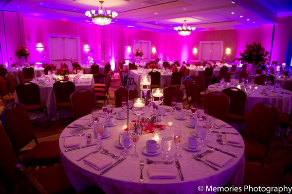 Indian wedding reception lighting venue in Bridgewater, New Jersey Indian Wedding by Memories Photography