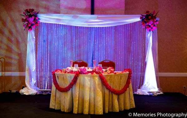 Indian wedding reception venue lighting in Bridgewater, New Jersey Indian Wedding by Memories Photography