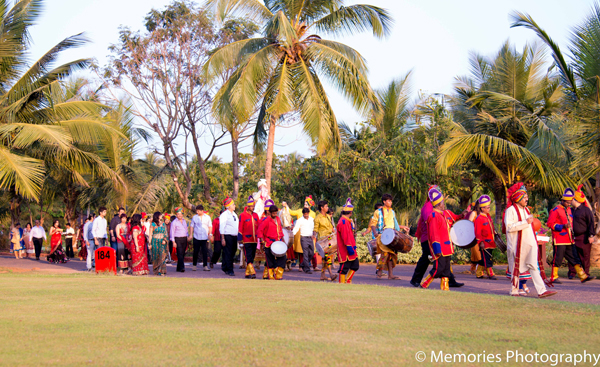 Indian wedding baraat music in Goa, India Indian Wedding by Memories Photography