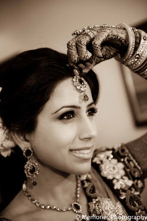 Indian wedding bridal hair jewelry in Goa, India Indian Wedding by Memories Photography