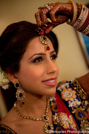 red,gold,green,bridal jewelry,Hair & Makeup,indian wedding makeup,indian bridal makeup,indian bride makeup,Memories Photography