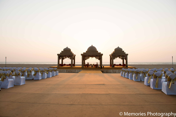 Indian wedding outdoor ceremony mandap in Goa, India Indian Wedding by Memories Photography