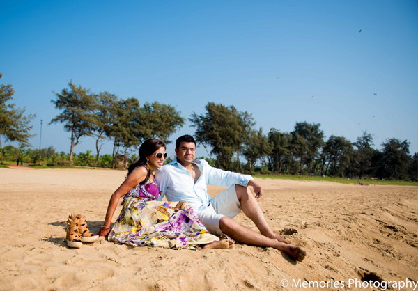 Indian wedding portrait beach in Goa, India Indian Wedding by Memories Photography