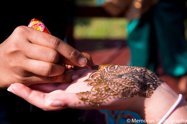 Indian wedding traditional bridal mehndi in Goa, India Indian Wedding by Memories Photography