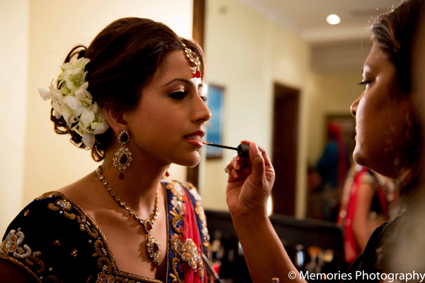 Indian wedding traditional bride makeup in Goa, India Indian Wedding by Memories Photography