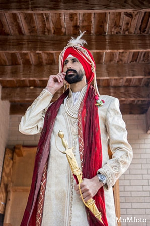 Indian groom fashion punjabi clothing in San Antonio, Texas Sikh Wedding by MnMfoto