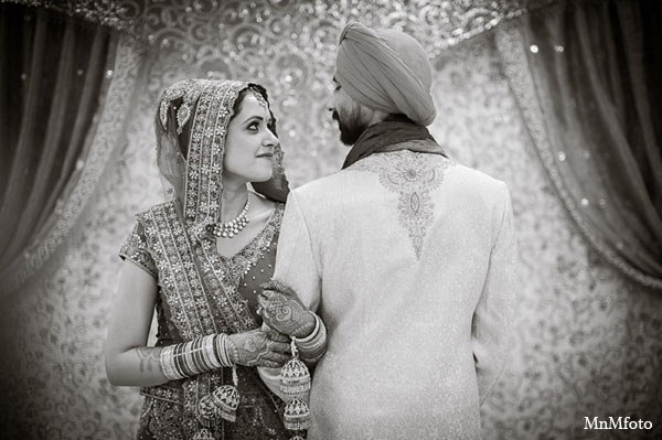 Indian wedding bride groom portrait in San Antonio, Texas Sikh Wedding by MnMfoto