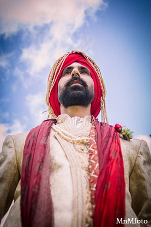 Indian wedding groom portrait attire in San Antonio, Texas Sikh Wedding by MnMfoto
