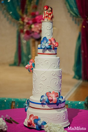 Indian wedding reception cake decor in San Antonio, Texas Sikh Wedding by MnMfoto