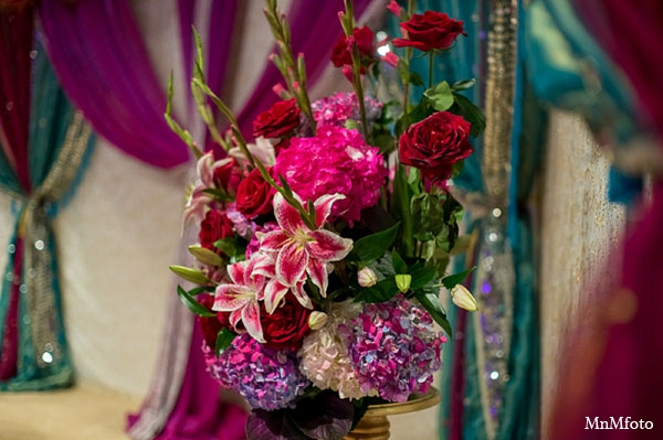 Indian wedding reception decor flowers in San Antonio, Texas Sikh Wedding by MnMfoto