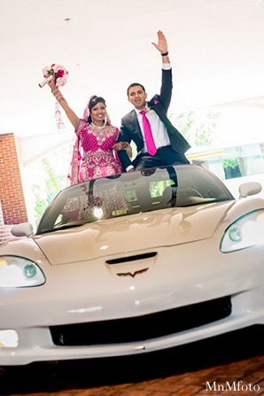 Indian wedding bride groom car in Alexandria, VA Indian Wedding by MnMfoto