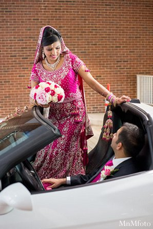 Indian wedding bride groom reception car in Alexandria, VA Indian Wedding by MnMfoto