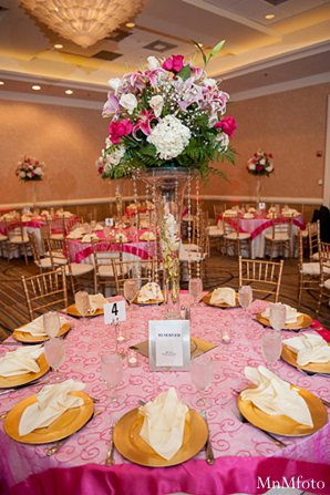 Indian wedding floral decor pink gold in Alexandria, VA Indian Wedding by MnMfoto