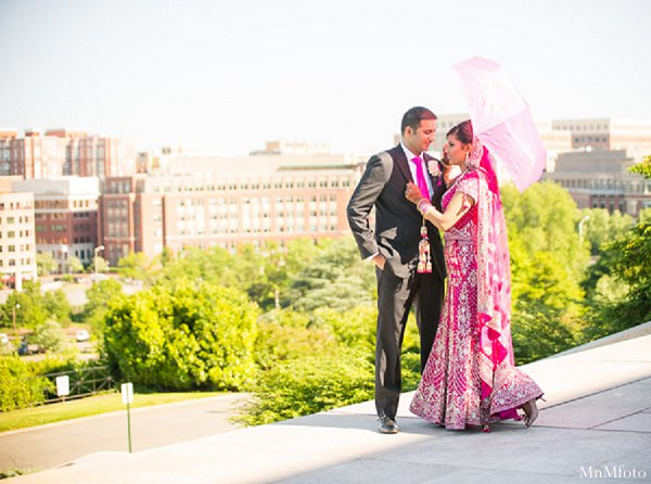 Indian wedding portrait groom bride lengha in Alexandria, VA Indian Wedding by MnMfoto