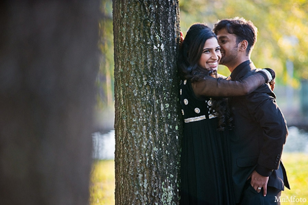 Indian wedding engagement photos tree hugging bride groom in Sunday Sweeheart Winners ~ Jafar & Ummama by MnMfoto