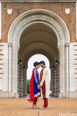 Indian wedding arch outside portraits bride and groom in Sweethearts Sunday Winnner ~ Navneet & Koijan by MnMfoto