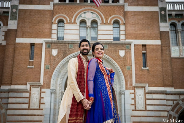 Indian wedding bride and groom outside portrait close together in Sweethearts Sunday Winnner ~ Navneet & Koijan by MnMfoto
