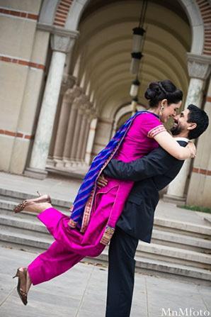 Indian wedding bride and groom pink lenga bride in Sweethearts Sunday Winnner ~ Navneet & Koijan by MnMfoto