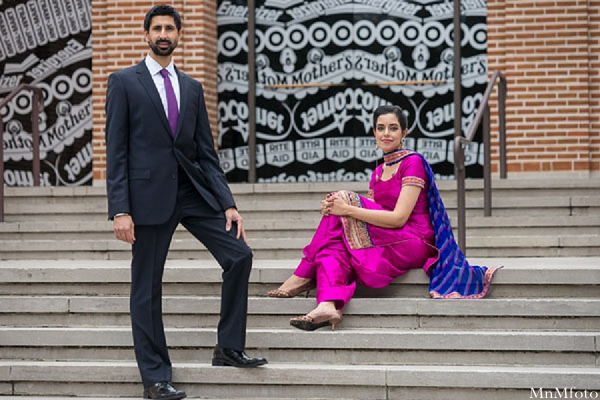Indian wedding bride and groom portrait outside stairs in Sweethearts Sunday Winnner ~ Navneet & Koijan by MnMfoto