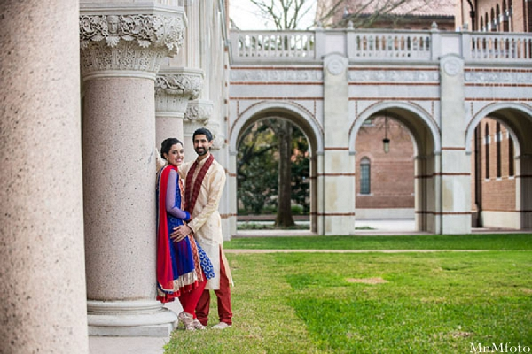 Indian wedding groom and bride outside portraits in Sweethearts Sunday Winnner ~ Navneet & Koijan by MnMfoto