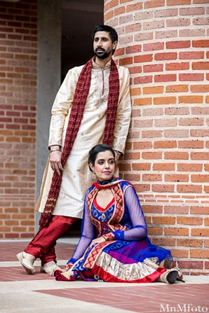 Indian wedding portrait bride and groom bride sitting in Sweethearts Sunday Winnner ~ Navneet & Koijan by MnMfoto